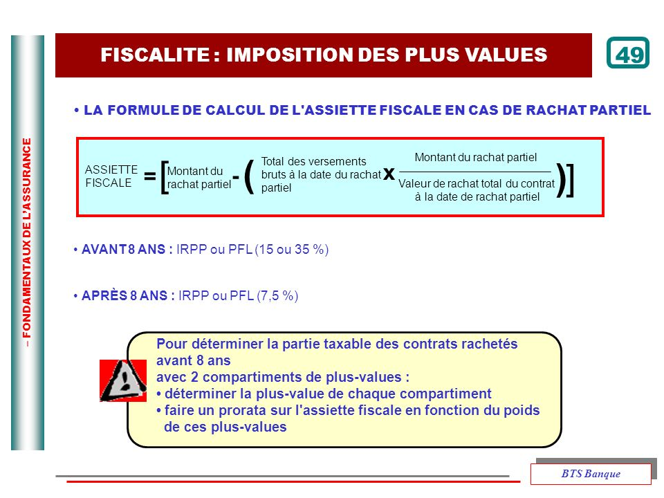 [ ) ] ) 49 x = - FISCALITE : IMPOSITION DES PLUS VALUES